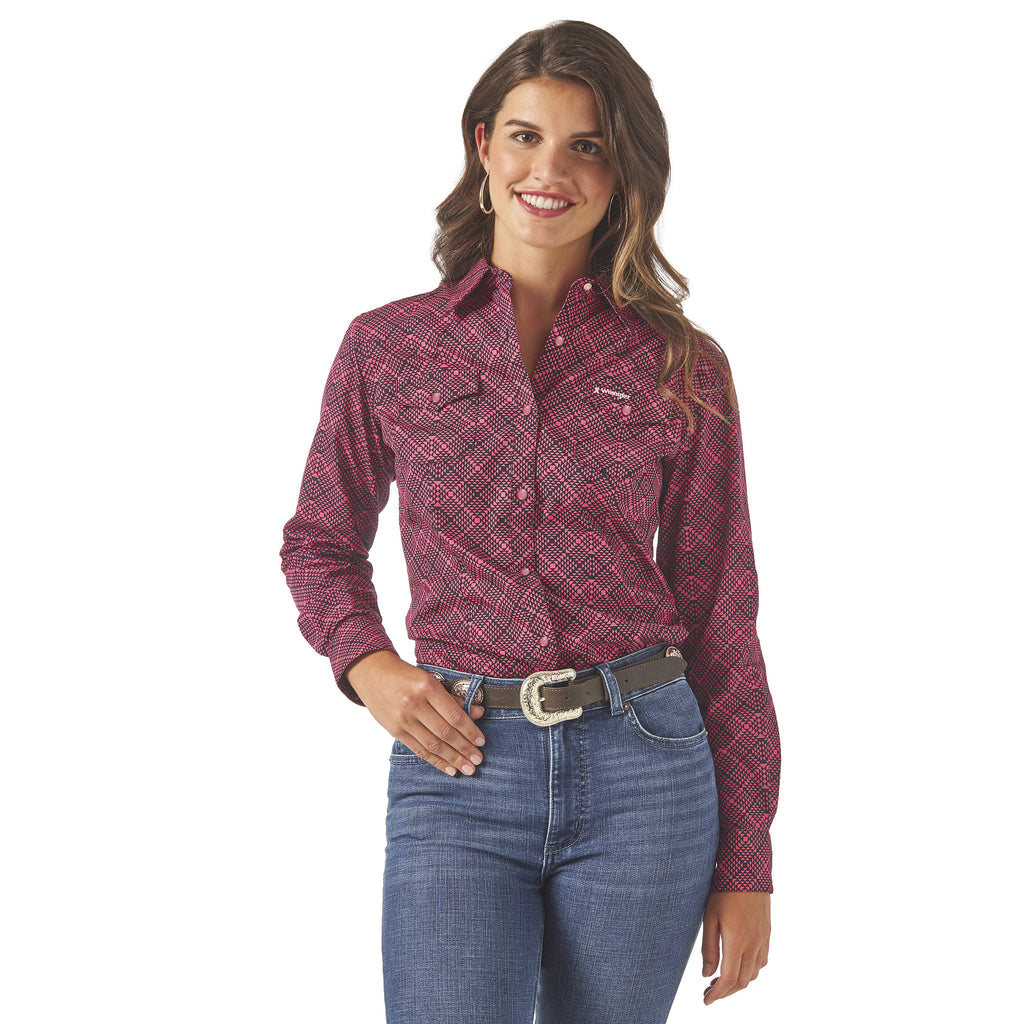 Women's Wrangler Tough Enough To Wear Pink Snap Front Shirt #LWB26TM