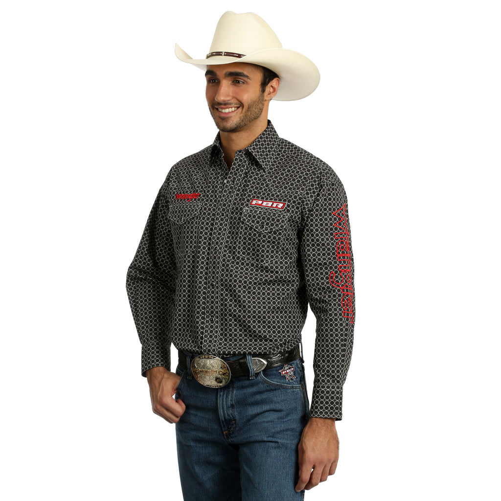 Men's Wrangler Logo Button Down Shirt #MHS228MX (Big and Tall)