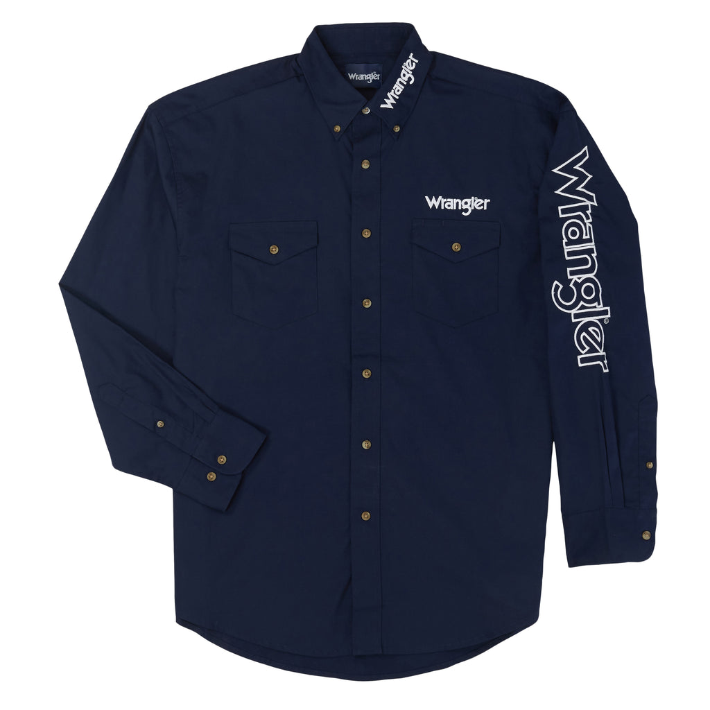 Men's Wrangler Logo Button Down Shirt #MP2327NX (Big and Tall)