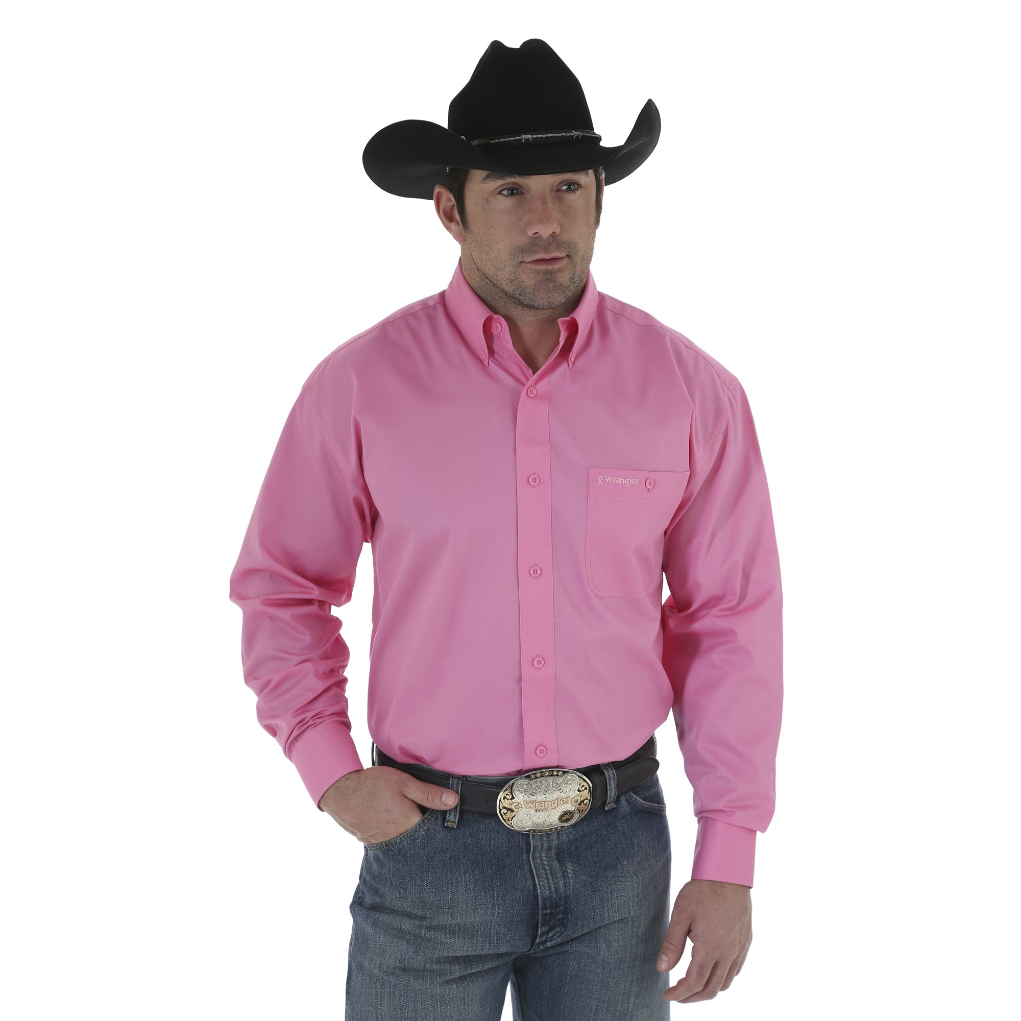 Men's Wrangler Tough Enough To Wear Pink Button Down Shirt #MTP242K