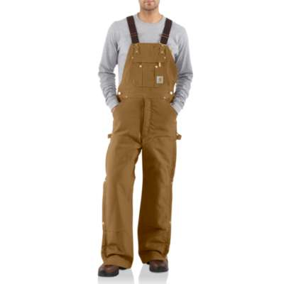 Men's Carhartt Zip-To-Thigh Quilt Lined Bib Overall #R41BRN