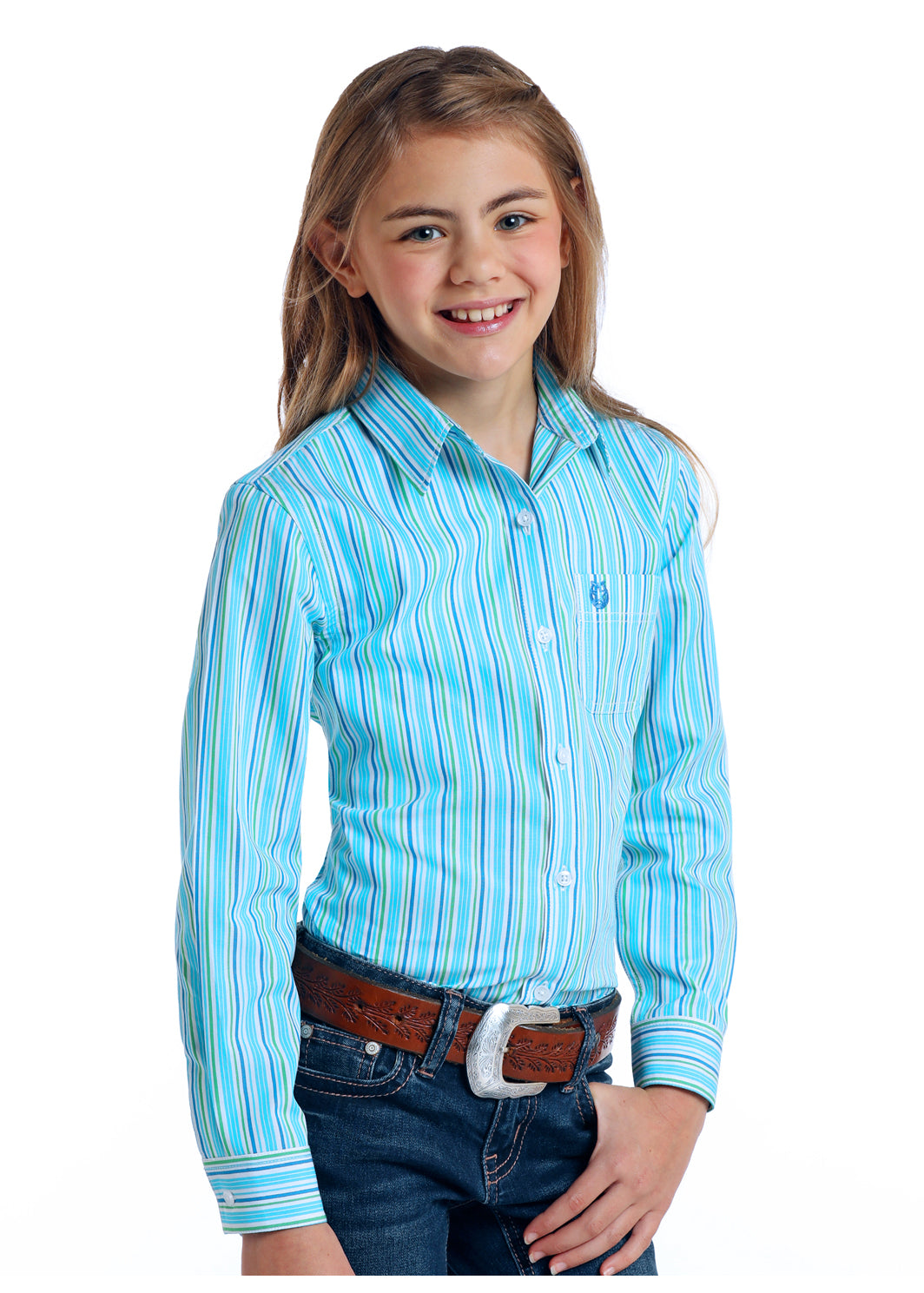 Girl's Rough Stock Button Down Shirt #R6B5775