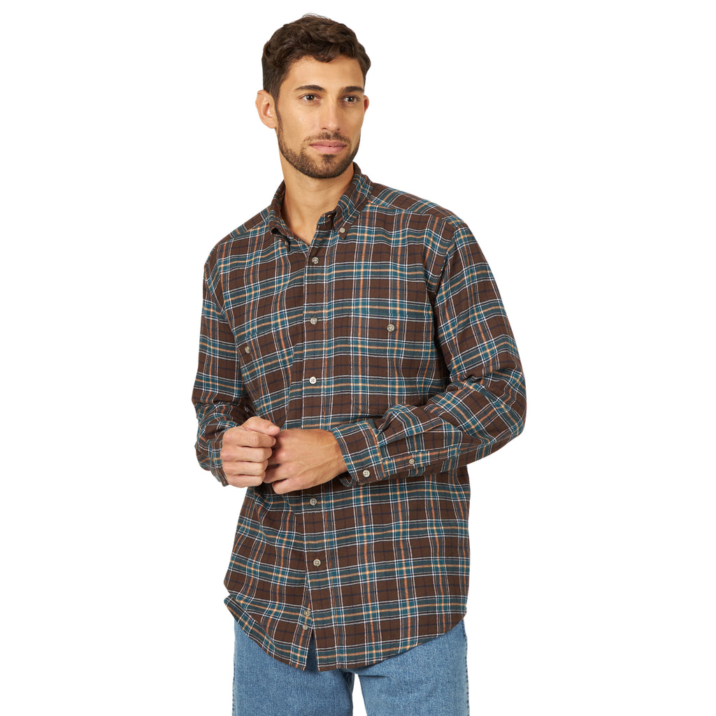 Men's Wrangler Rugged Wear Flannel Button Down Shirt #RWFL3BN