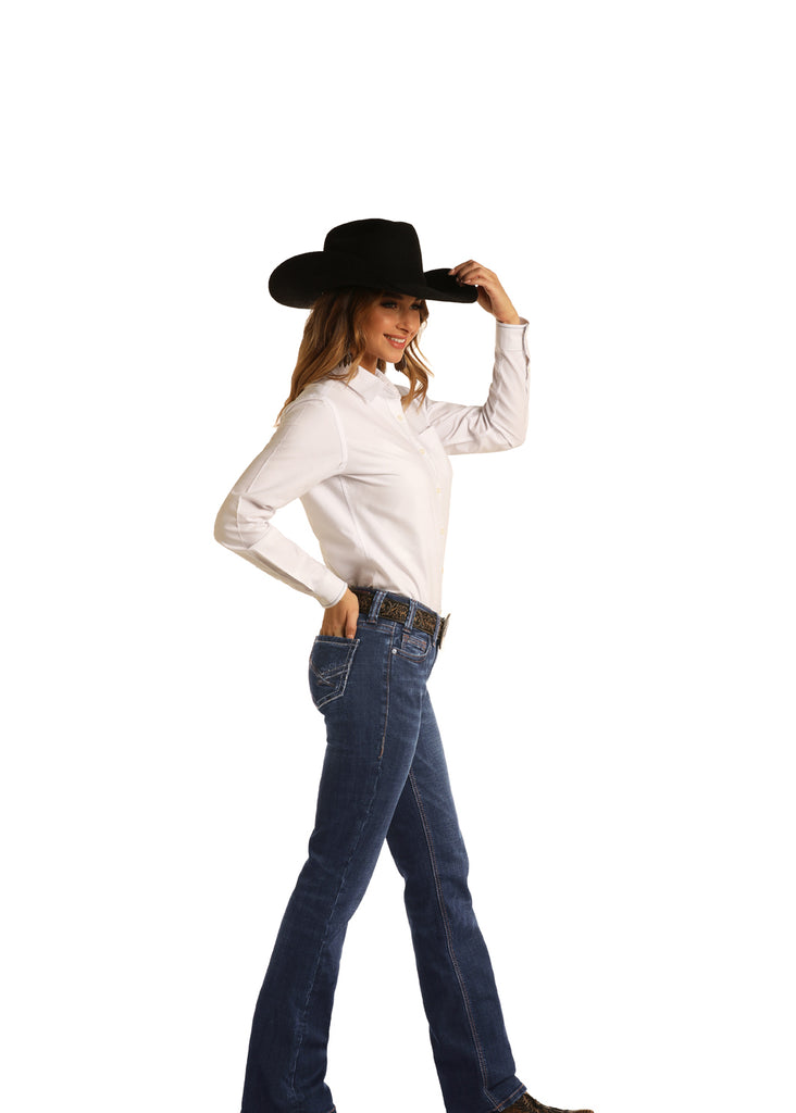 Women's Rock & Roll Cowgirl Riding Boot Cut Jean #W7-6137