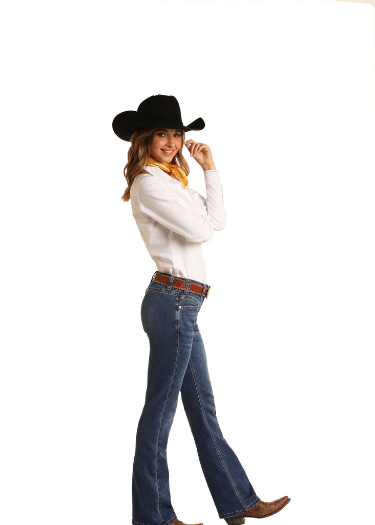 Women's Rock & Roll Cowgirl Riding Boot Cut Jean #W7-6159
