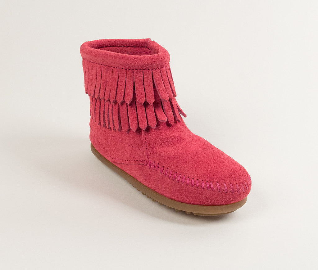 Children's Minnetonka Double Fringe Side Zip Boot #2295
