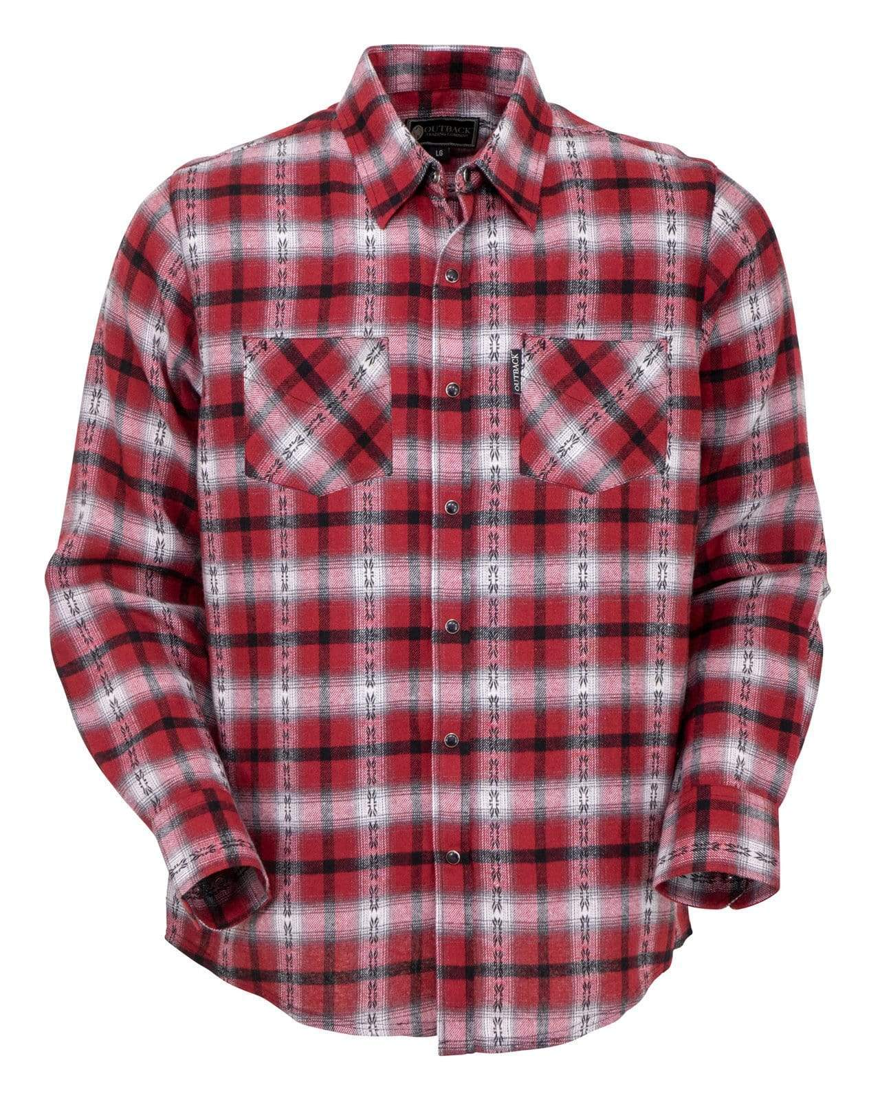 Men's Outback Trading Company Raynor Flannel Snap Front Shirt #42708-RED
