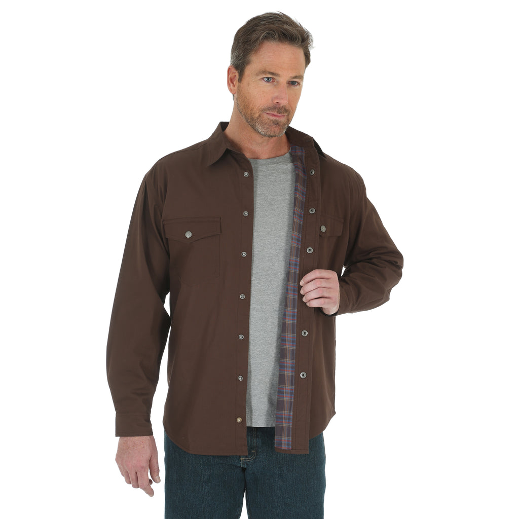 Men's Wrangler Riggs Workwear Flannel Lined Snap Front Shirt #3W526CBX (Big and Tall)