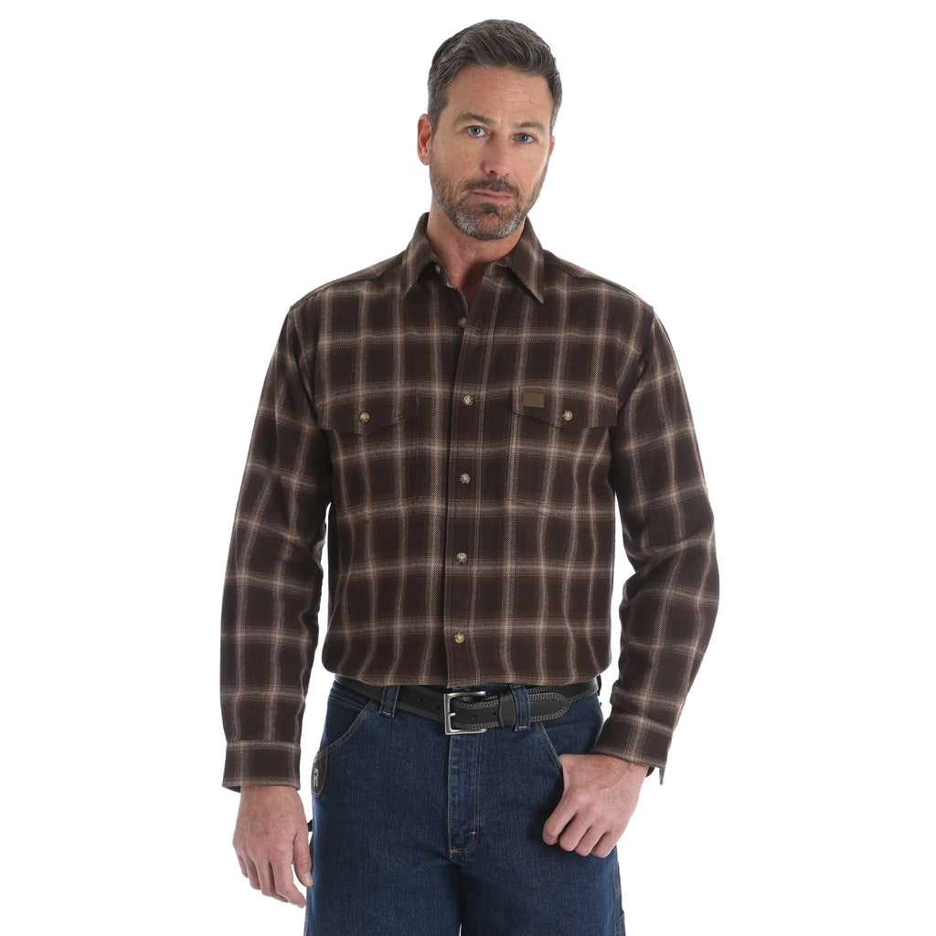 Men's Wrangler Riggs Flannel Snap Front Shirt #3W532DB