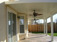 Newport Solid Cover - Backyard Porch with Double Fans