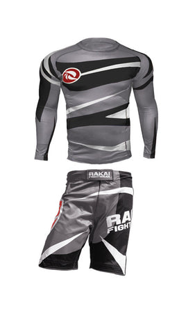 Grey 1 Rashguard + 1  MMA Short Bundle includes FREE Spats