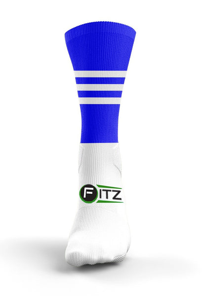 Fitz Blue White Mid Socks - Fitz Hurleys
