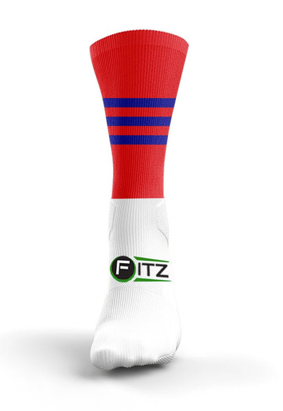 Fitz Red Blue Mid Socks - Fitz Hurleys