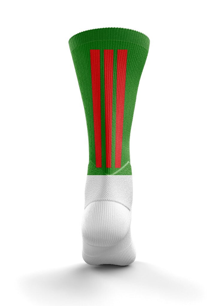 Fitz Green and Red Back Stripe Mid Socks - Fitz Hurleys