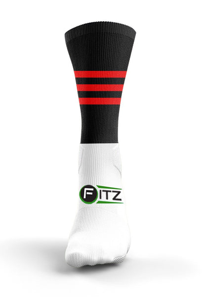 Fitz Black Red Mid Socks - Fitz Hurleys
