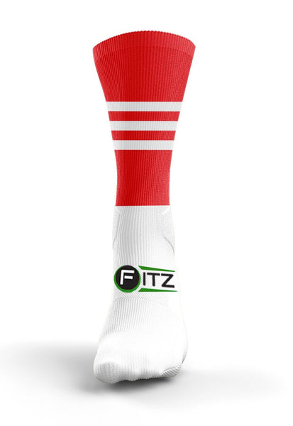 Fitz Red White Mid Socks - Fitz Hurleys