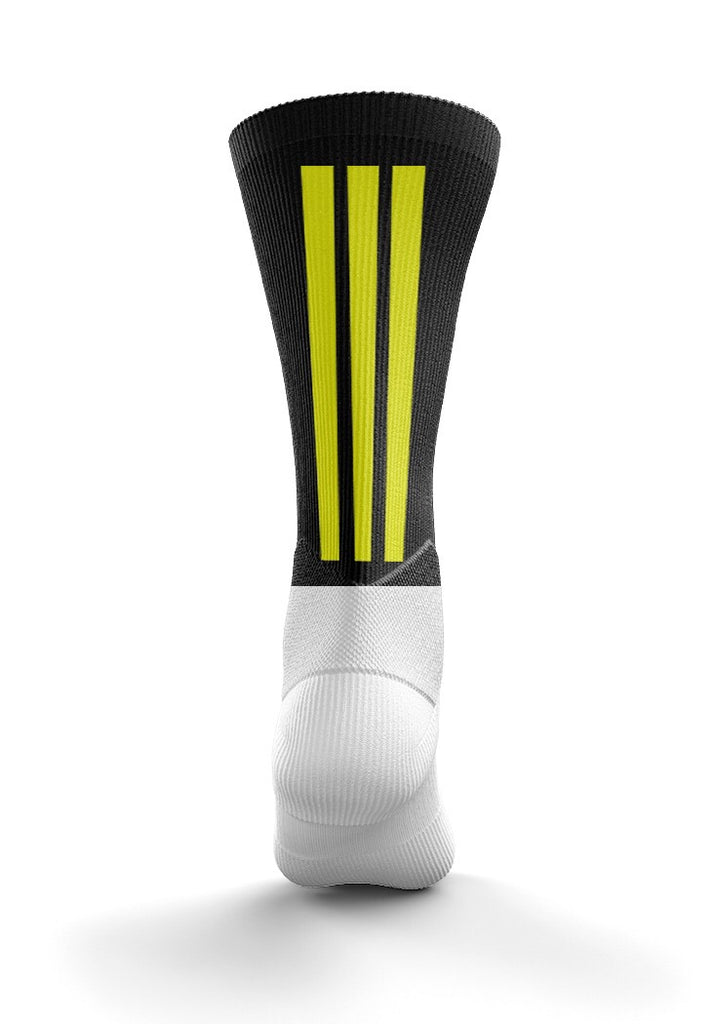Fitz Black and Amber Back Stripe Mid Socks - Fitz Hurleys