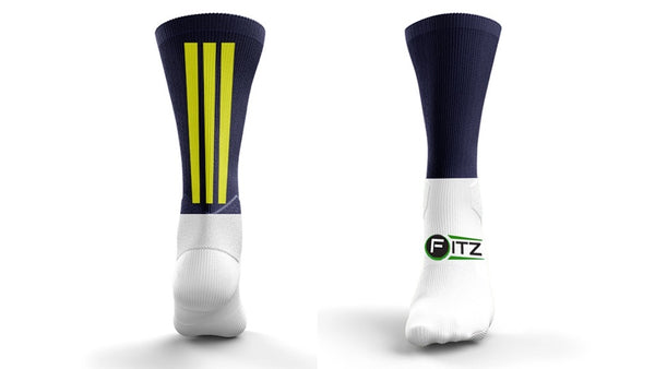Fitz Navy and Gold Back Stripe Mid Socks - Fitz Hurleys