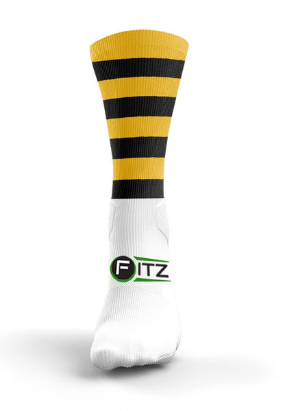 Fitz Black Amber Hooped Mid Socks - Fitz Hurleys