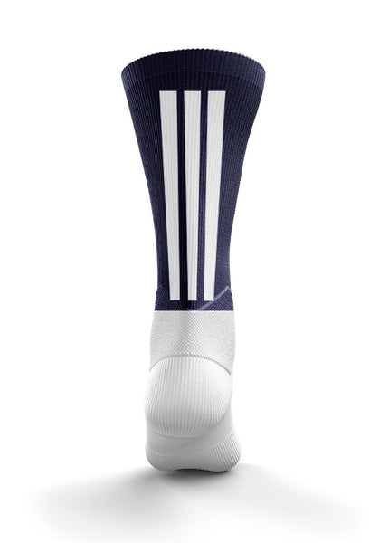 Fitz Navy and White Back Stripe Mid Socks - Fitz Hurleys