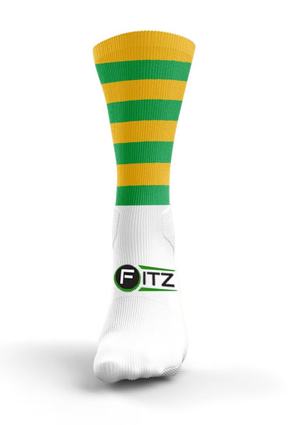 Fitz Green Gold Hooped Mid Socks - Fitz Hurleys