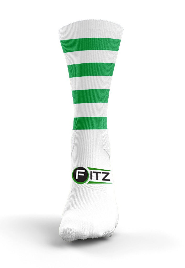 Fitz Green White Hooped Mid Socks - Fitz Hurleys