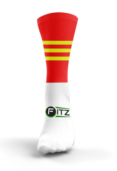 Red Yellow Mid Socks