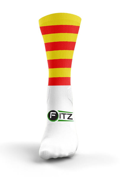 Fitz Red Yellow Hooped Mid Socks - Fitz Hurleys