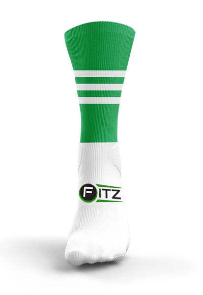 Fitz Green White Mid Socks - Fitz Hurleys