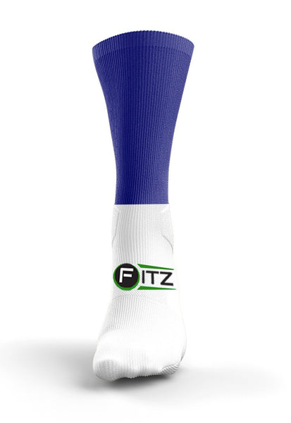 Fitz Blue and White Back Stripe Mid Socks - Fitz Hurleys
