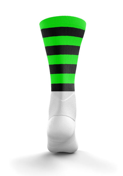 Fitz Black and Neon Green Training Mid Socks - Fitz Hurleys