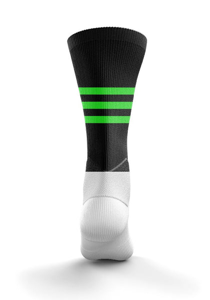Fitz Black and Neon Green Stripe Training Mid Socks - Fitz Hurleys