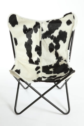 Black & White Cowhide Butterfly Chair