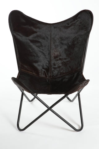 Espresso Cowhide Butterfly Chair