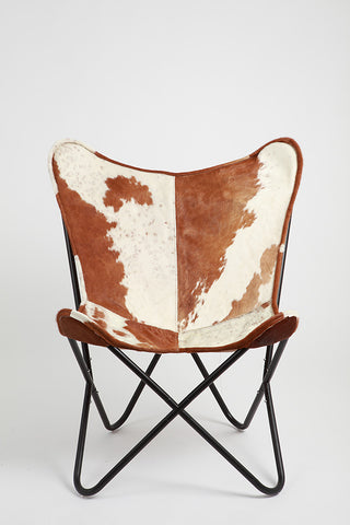 Brown U0026 White Cowhide Butterfly Chair