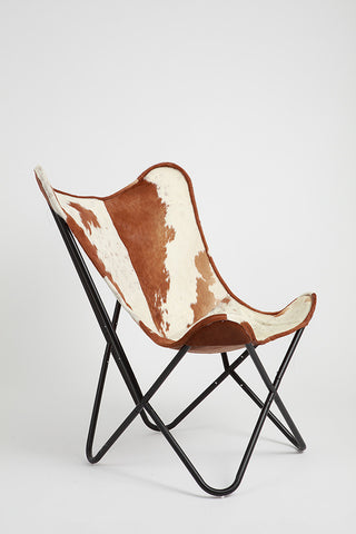 ... Brown U0026 White Cowhide Butterfly Chair ...