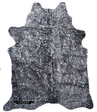 Dark Silver Metallic Devore Cowhide