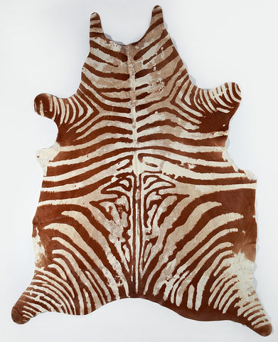 Brown & White Zebra Cowhide