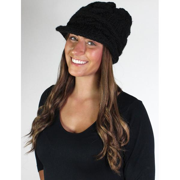 Cable Knit Slouchy Hat Line w/ Fur