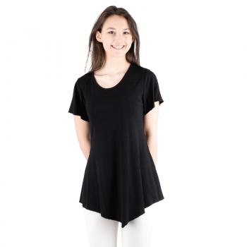 SHORT SLEEVE TOP WITH V SHAPE HEM