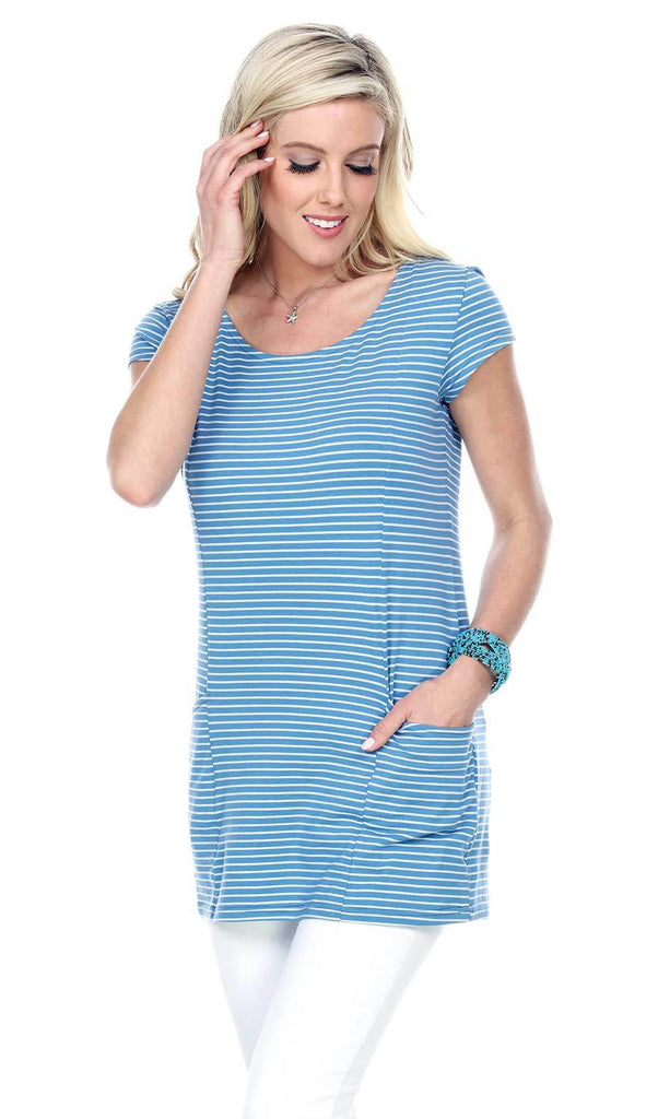 Striped Short Sleeve Tee Tunic