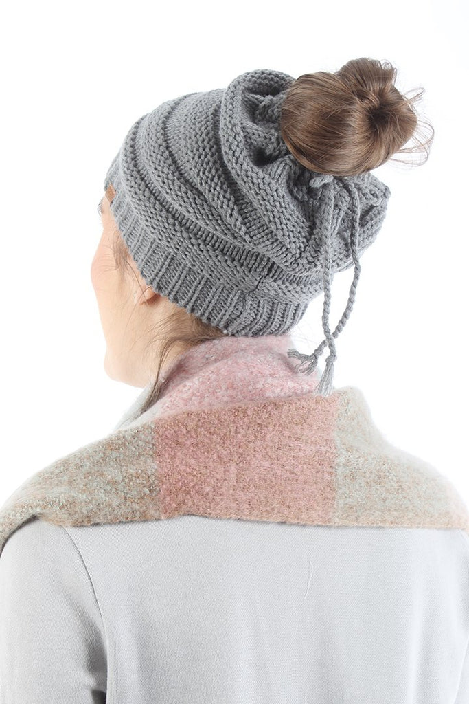 Knit Beanie with Open Top