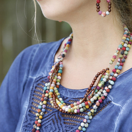 Kantha Wood Twist Necklace