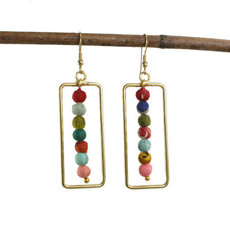 Framed Kantha Earring