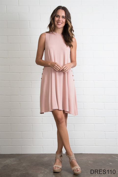 A-Line Dress with Mock Collar