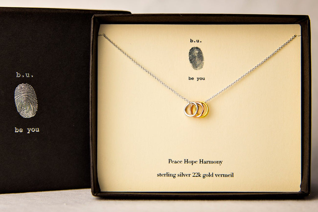 Tiny Charm Necklace: Peace, Hope, Harmony