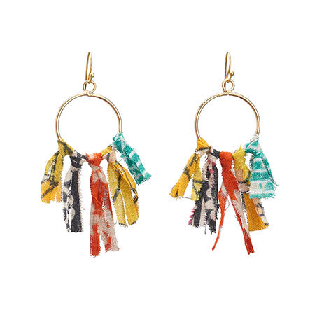 Kantha Tie Fringe Earrings