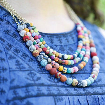 Kantha 4 tier Necklace