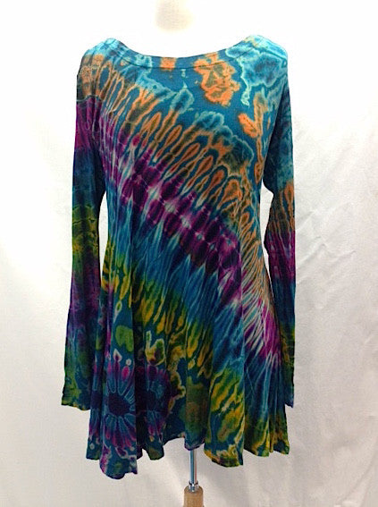 Flared Long Sleeve Tie-Dye Tunic