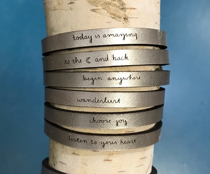 Inspirational Engraved Leather Bracelet -Metallic Silver